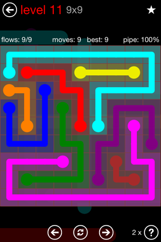 Solution and Answer to the Puzzle for Flow 9mania Pack Set 9x9 Level 11
