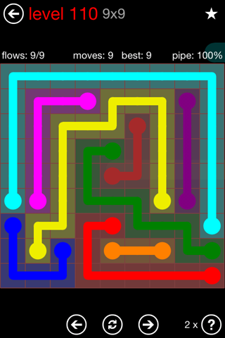 Solution and Answer to the Puzzle for Flow 9mania Pack Set 9x9 Level 110