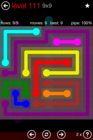 Solution and Answer to the Puzzle for Flow 9mania Pack Set 9x9 Level 111