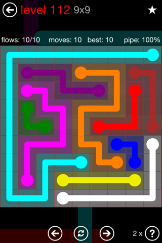 Solution and Answer to the Puzzle for Flow 9mania Pack Set 9x9 Level 112