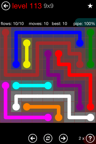 Solution and Answer to the Puzzle for Flow 9mania Pack Set 9x9 Level 113