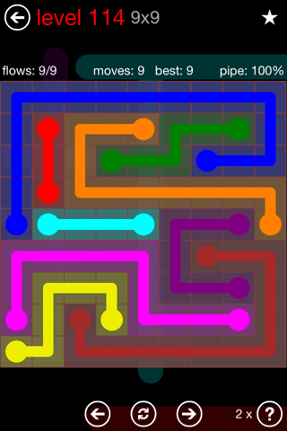 Solution and Answer to the Puzzle for Flow 9mania Pack Set 9x9 Level 114