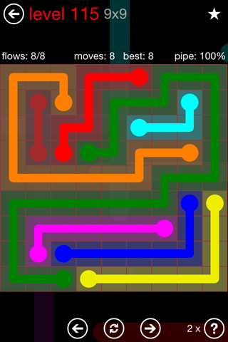 Solution and Answer to the Puzzle for Flow 9mania Pack Set 9x9 Level 115