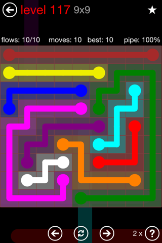 Solution and Answer to the Puzzle for Flow 9mania Pack Set 9x9 Level 117