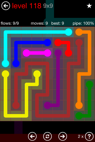 Solution and Answer to the Puzzle for Flow 9mania Pack Set 9x9 Level 118