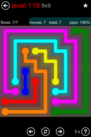 Solution and Answer to the Puzzle for Flow 9mania Pack Set 9x9 Level 119