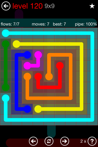 Solution and Answer to the Puzzle for Flow 9mania Pack Set 9x9 Level 120