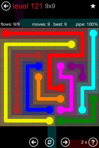 Solution and Answer to the Puzzle for Flow 9mania Pack Set 9x9 Level 121