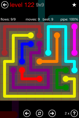 Solution and Answer to the Puzzle for Flow 9mania Pack Set 9x9 Level 122