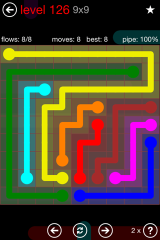 Solution and Answer to the Puzzle for Flow 9mania Pack Set 9x9 Level 126