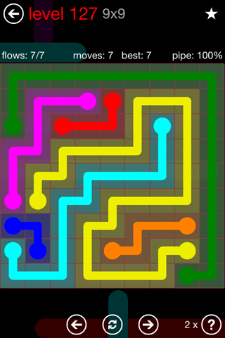 Solution and Answer to the Puzzle for Flow 9mania Pack Set 9x9 Level 127