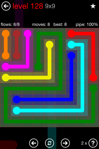 Solution and Answer to the Puzzle for Flow 9mania Pack Set 9x9 Level 128