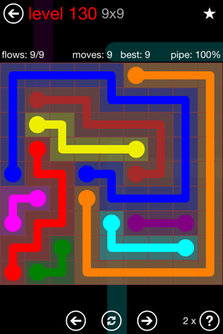 Solution and Answer to the Puzzle for Flow 9mania Pack Set 9x9 Level 130