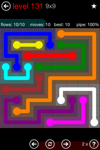 Solution and Answer to the Puzzle for Flow 9mania Pack Set 9x9 Level 131