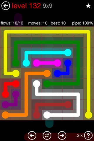 Solution and Answer to the Puzzle for Flow 9mania Pack Set 9x9 Level 132