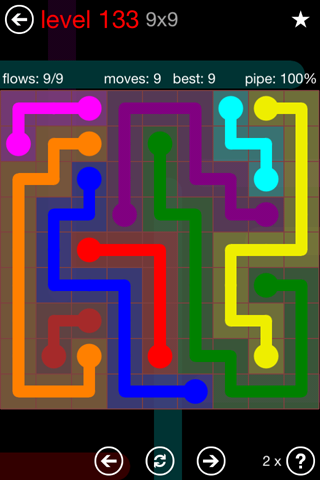 Solution and Answer to the Puzzle for Flow 9mania Pack Set 9x9 Level 133