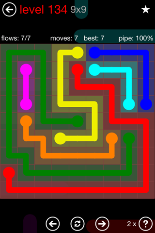 Solution and Answer to the Puzzle for Flow 9mania Pack Set 9x9 Level 134