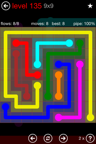Solution and Answer to the Puzzle for Flow 9mania Pack Set 9x9 Level 135
