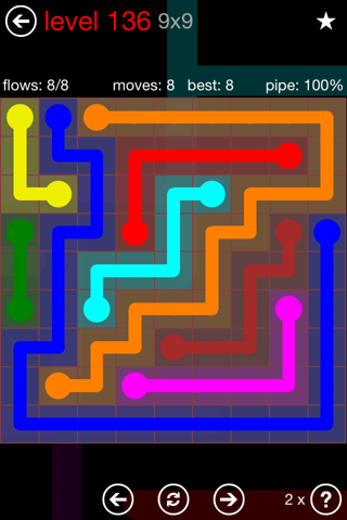 Solution and Answer to the Puzzle for Flow 9mania Pack Set 9x9 Level 136