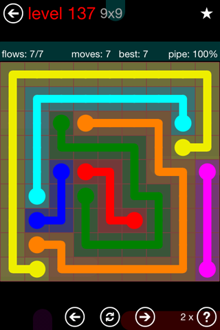 Solution and Answer to the Puzzle for Flow 9mania Pack Set 9x9 Level 137
