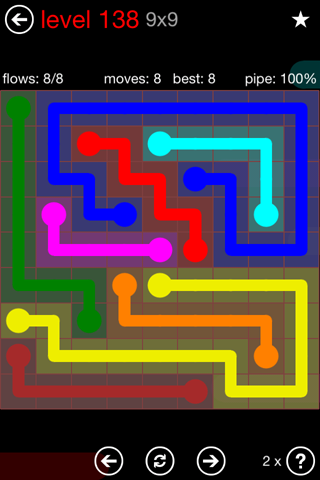 Solution and Answer to the Puzzle for Flow 9mania Pack Set 9x9 Level 138
