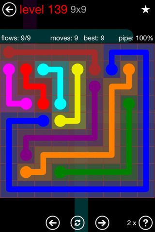 Solution and Answer to the Puzzle for Flow 9mania Pack Set 9x9 Level 139