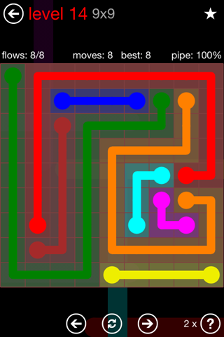 Solution and Answer to the Puzzle for Flow 9mania Pack Set 9x9 Level 14