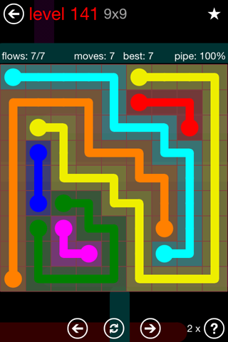 Solution and Answer to the Puzzle for Flow 9mania Pack Set 9x9 Level 141