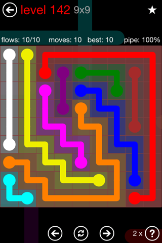 Solution and Answer to the Puzzle for Flow 9mania Pack Set 9x9 Level 142