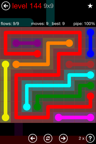 Solution and Answer to the Puzzle for Flow 9mania Pack Set 9x9 Level 144