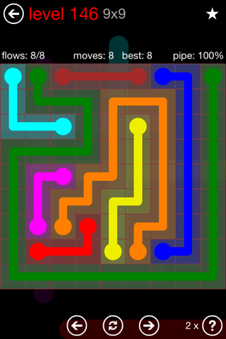 Solution and Answer to the Puzzle for Flow 9mania Pack Set 9x9 Level 146