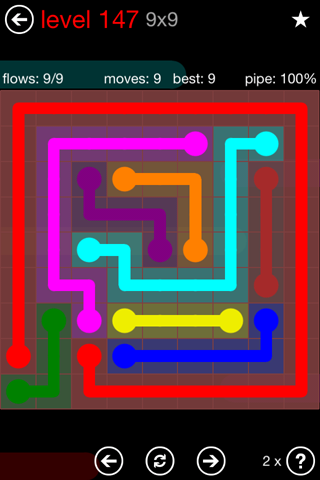 Solution and Answer to the Puzzle for Flow 9mania Pack Set 9x9 Level 147