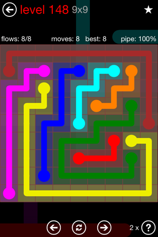 Solution and Answer to the Puzzle for Flow 9mania Pack Set 9x9 Level 148