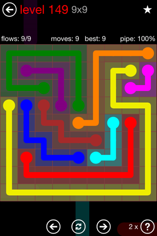 Solution and Answer to the Puzzle for Flow 9mania Pack Set 9x9 Level 149