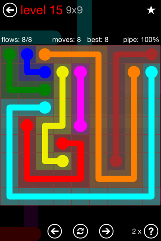 Solution and Answer to the Puzzle for Flow 9mania Pack Set 9x9 Level 15