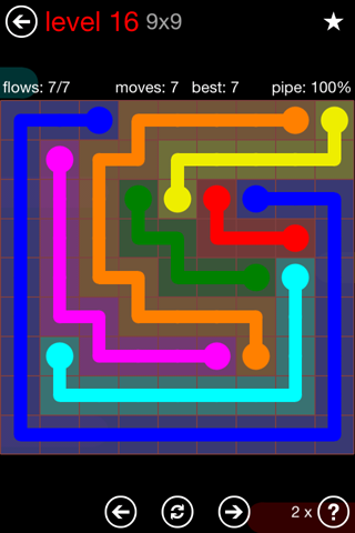 Solution and Answer to the Puzzle for Flow 9mania Pack Set 9x9 Level 16