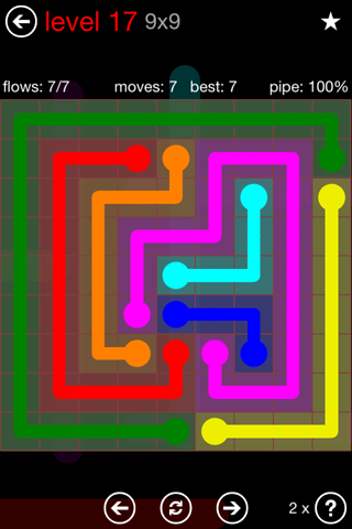Solution and Answer to the Puzzle for Flow 9mania Pack Set 9x9 Level 17