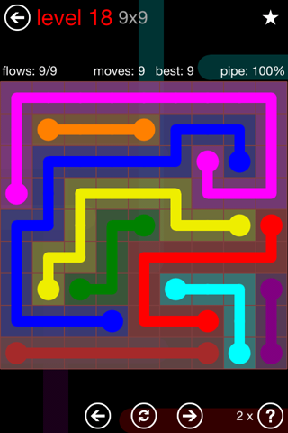 Solution and Answer to the Puzzle for Flow 9mania Pack Set 9x9 Level 18