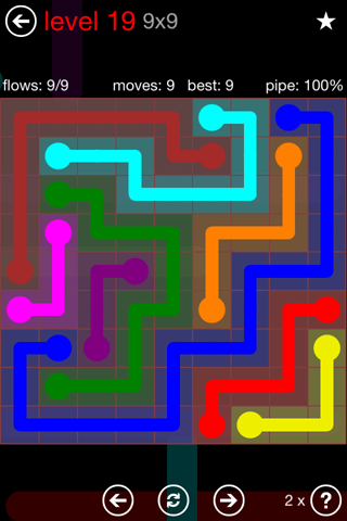 Solution and Answer to the Puzzle for Flow 9mania Pack Set 9x9 Level 19