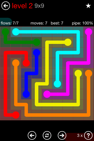 Solution and Answer to the Puzzle for Flow 9mania Pack Set 9x9 Level 2