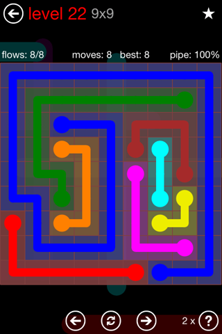 Solution and Answer to the Puzzle for Flow 9mania Pack Set 9x9 Level 22