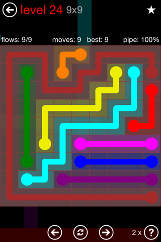 Solution and Answer to the Puzzle for Flow 9mania Pack Set 9x9 Level 24