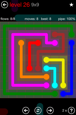 Solution and Answer to the Puzzle for Flow 9mania Pack Set 9x9 Level 26