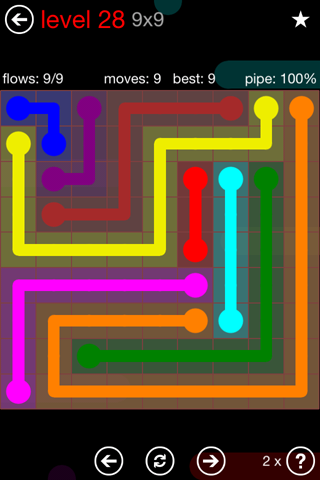 Solution and Answer to the Puzzle for Flow 9mania Pack Set 9x9 Level 28