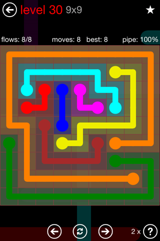 Solution and Answer to the Puzzle for Flow 9mania Pack Set 9x9 Level 30