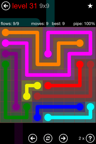 Solution and Answer to the Puzzle for Flow 9mania Pack Set 9x9 Level 31