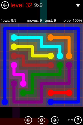 Solution and Answer to the Puzzle for Flow 9mania Pack Set 9x9 Level 32