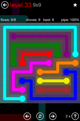 Solution and Answer to the Puzzle for Flow 9mania Pack Set 9x9 Level 33