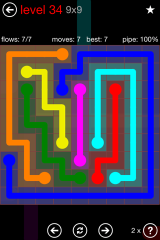 Solution and Answer to the Puzzle for Flow 9mania Pack Set 9x9 Level 34