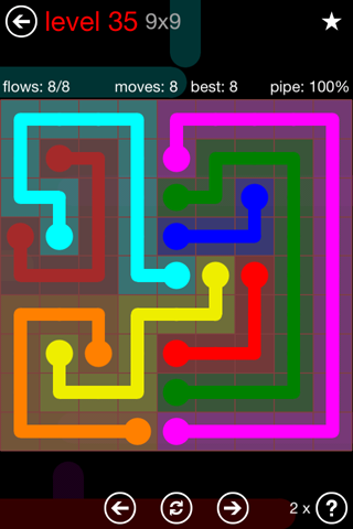 Solution and Answer to the Puzzle for Flow 9mania Pack Set 9x9 Level 35